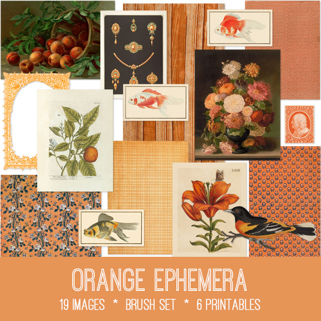 orange ephemera vintage images