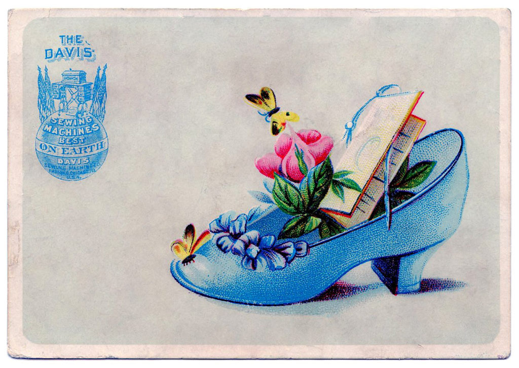 vintage blue high heel shoe flowers butterfly image