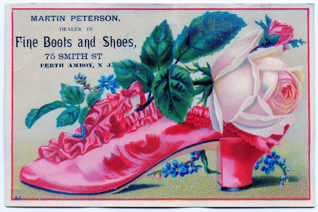 vintage hot pink shoe flowers advertising image