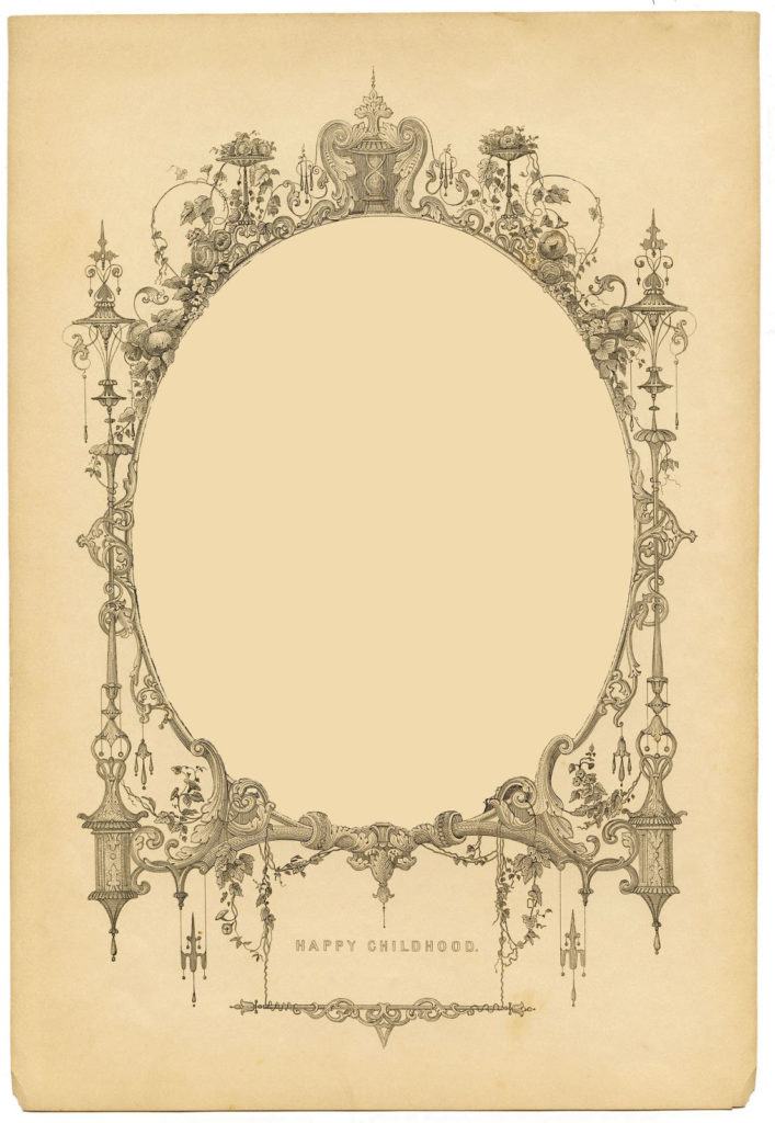 sepia fancy oval frame illustration