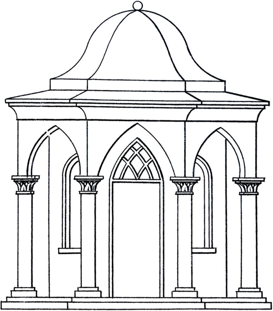 line art pavilion illustration
