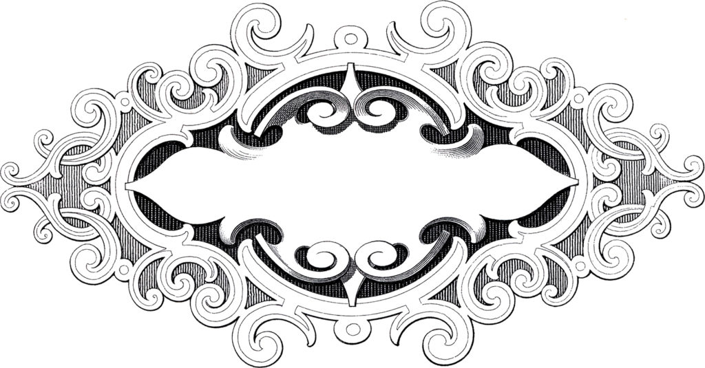 ornate baroque label frame clipart