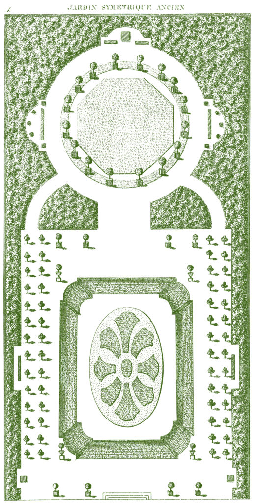 green French garden plan illustration