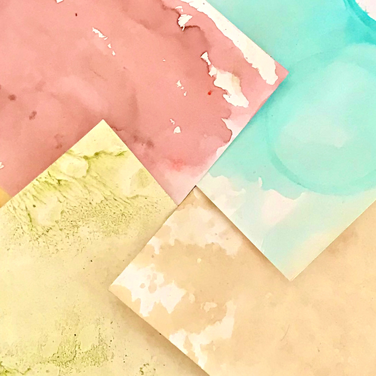 Fun Color Tea Stained Papers