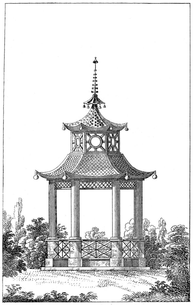 garden pagoda black white illustration