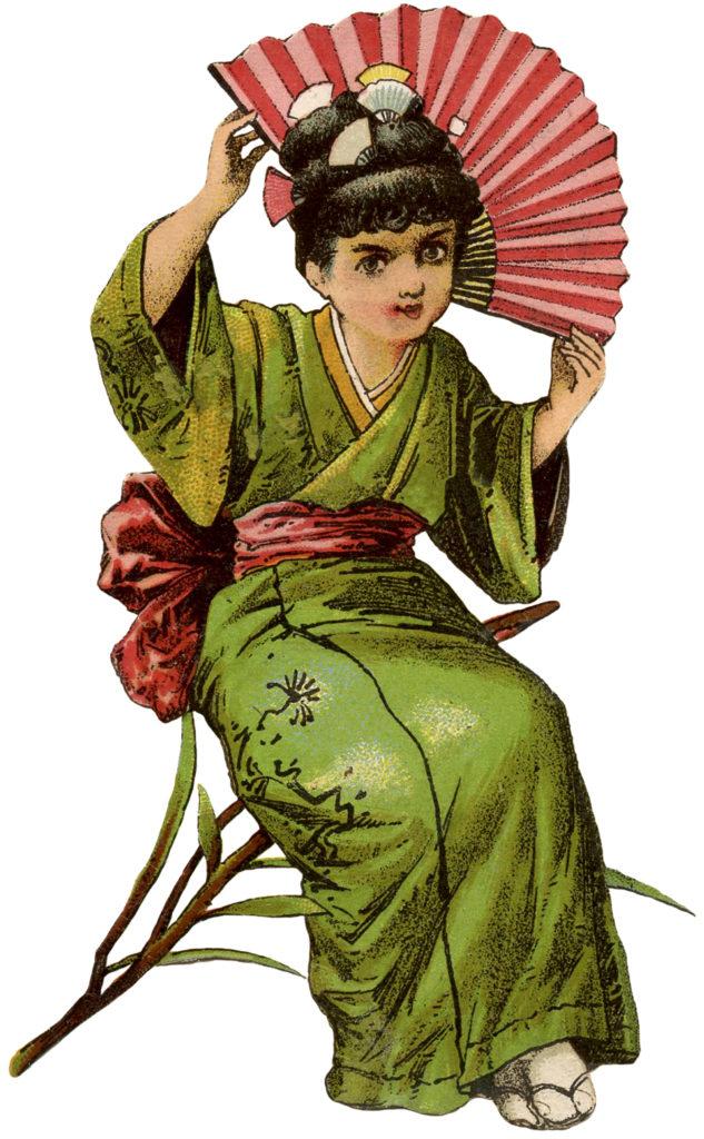 girl kimono fan clipart