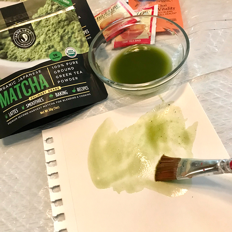 Matcha Tea Stain Applied with a Brush