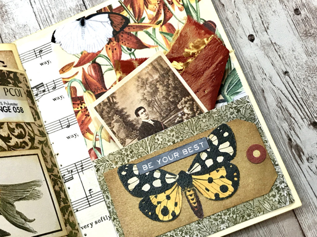 junk journal page butterfly pocket