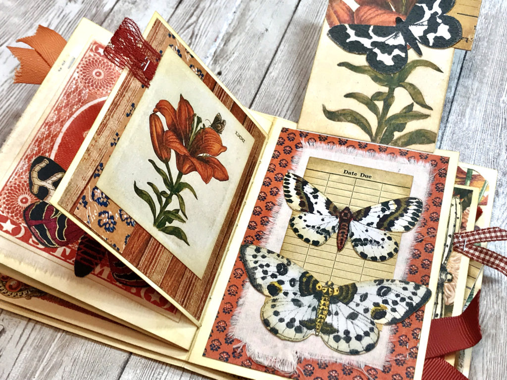 botanical print butterfly moth journal page