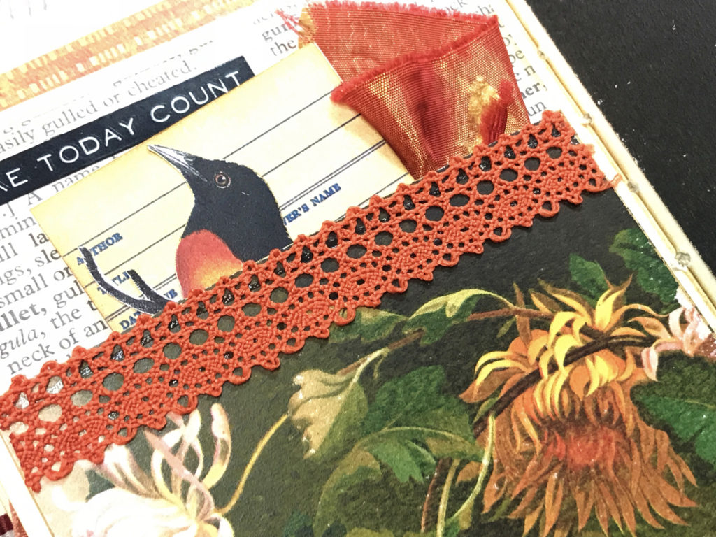 fabric pocket lace trim journal page