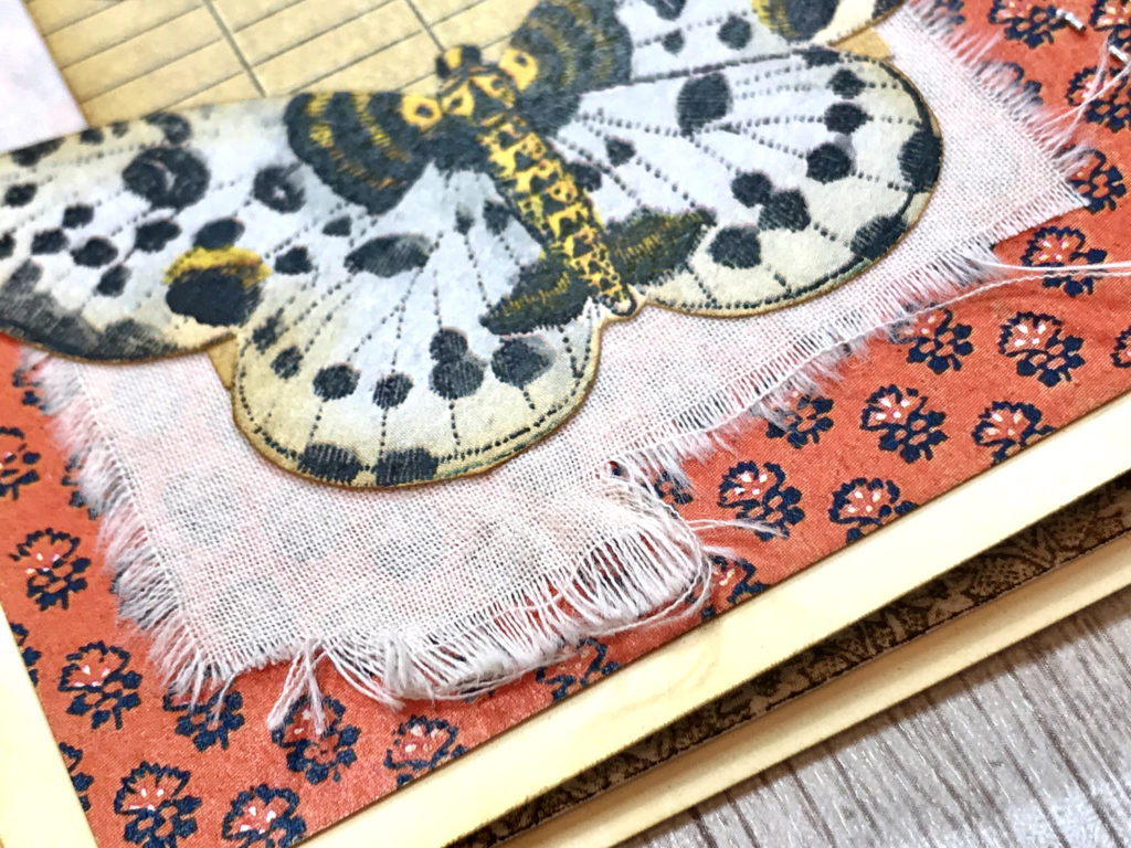 moth library card linen journal page