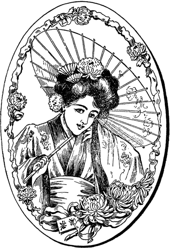 vintage illustration geisha lady parasol clipart