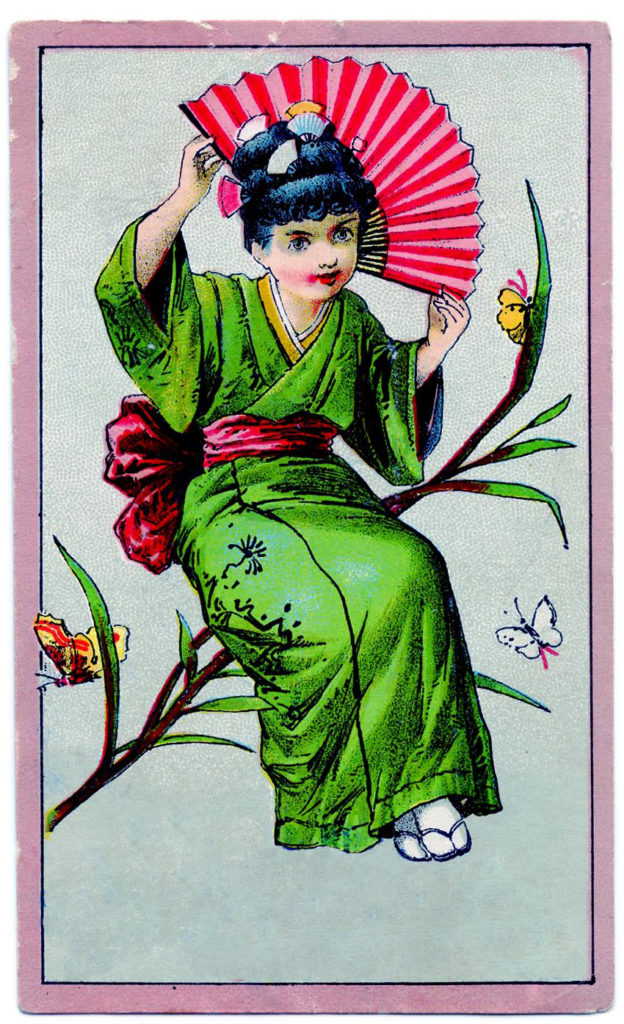 vintage girl kimono card illustration