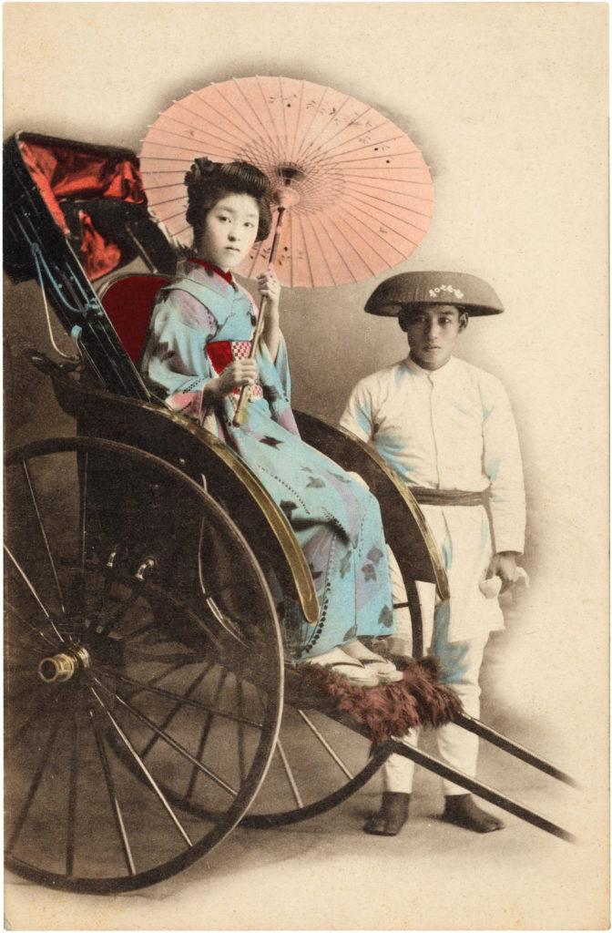 vintage japan lady kimono parasol rickshaw image