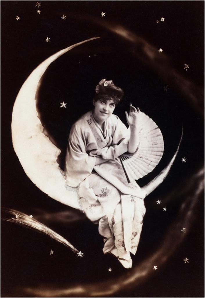 vintage lady moon kimono fan photograph image