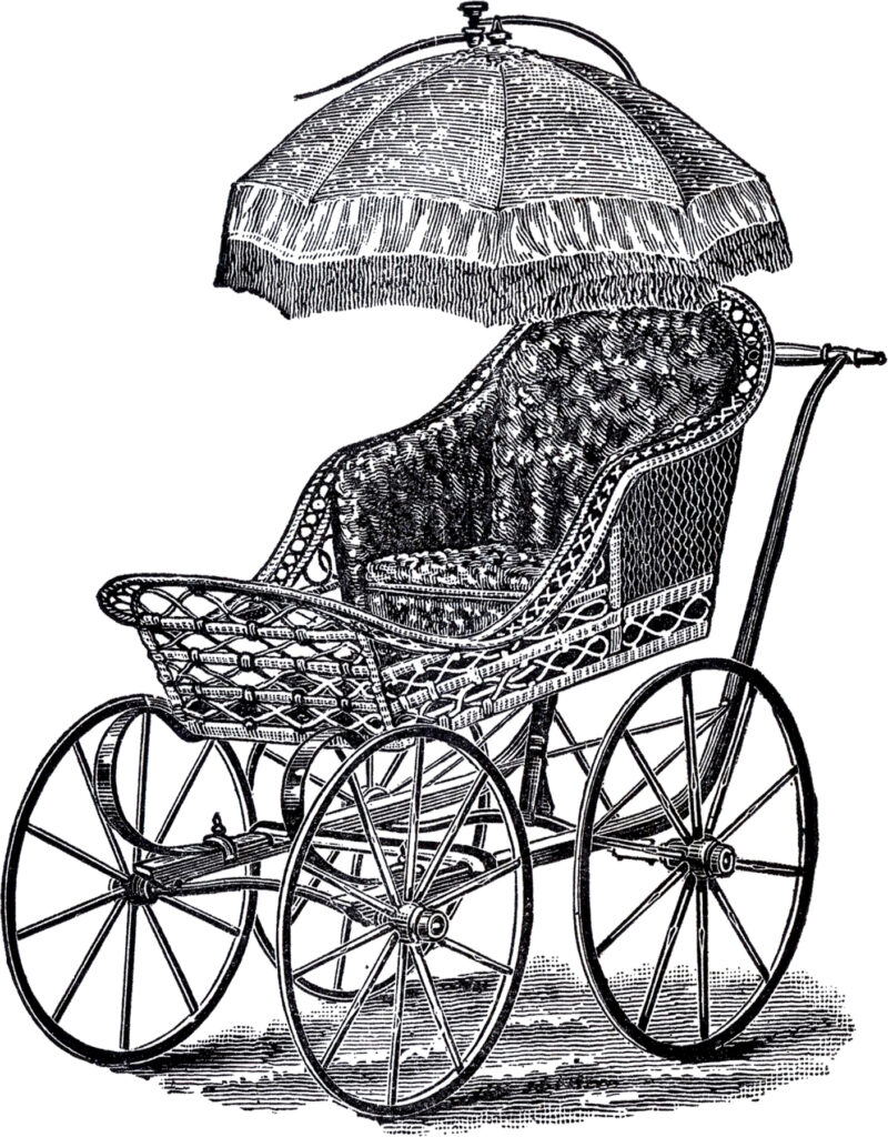 Wicker Baby Carriage Image