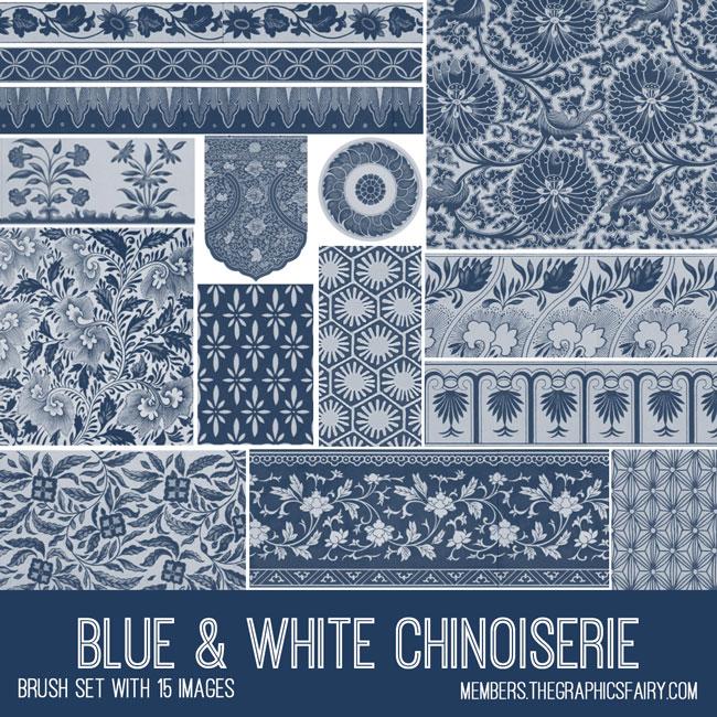 blue white chinoiserie vintage ephemera brush set