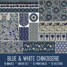 vintage blue white chinoiserie ephemera bundle
