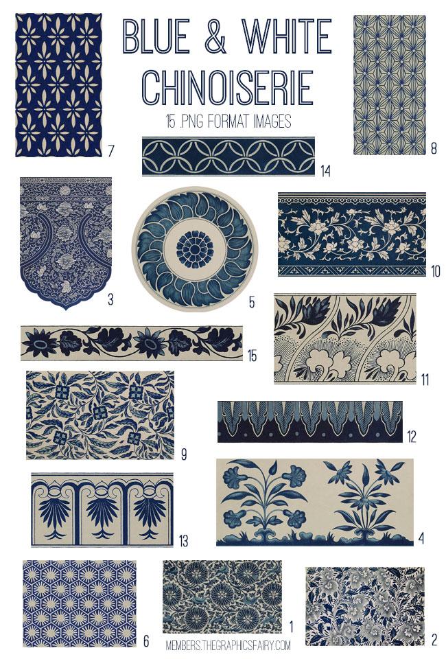 vintage blue white chinoiserie ephemera digital image bundle
