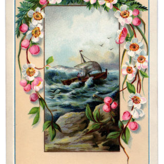 framed ship sea flowers image