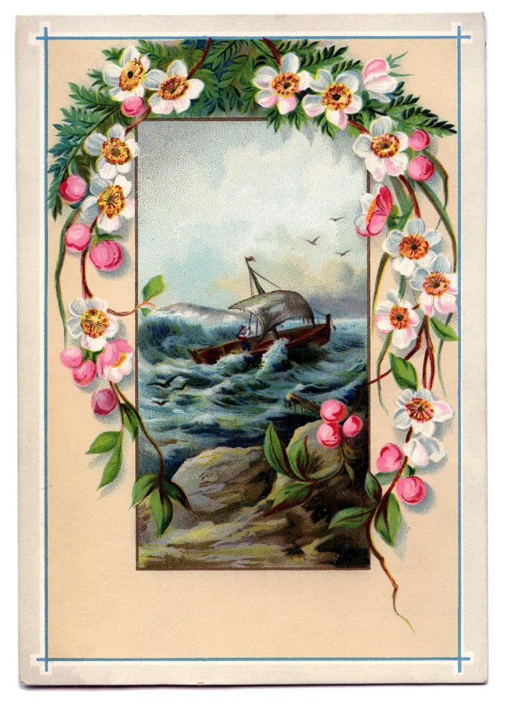 framed ship sea flowers image