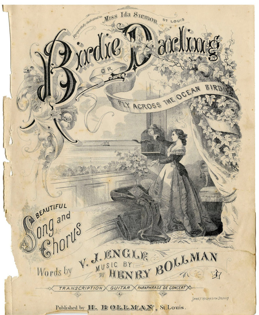 birdie darling vintage sepia sheet music page clipart
