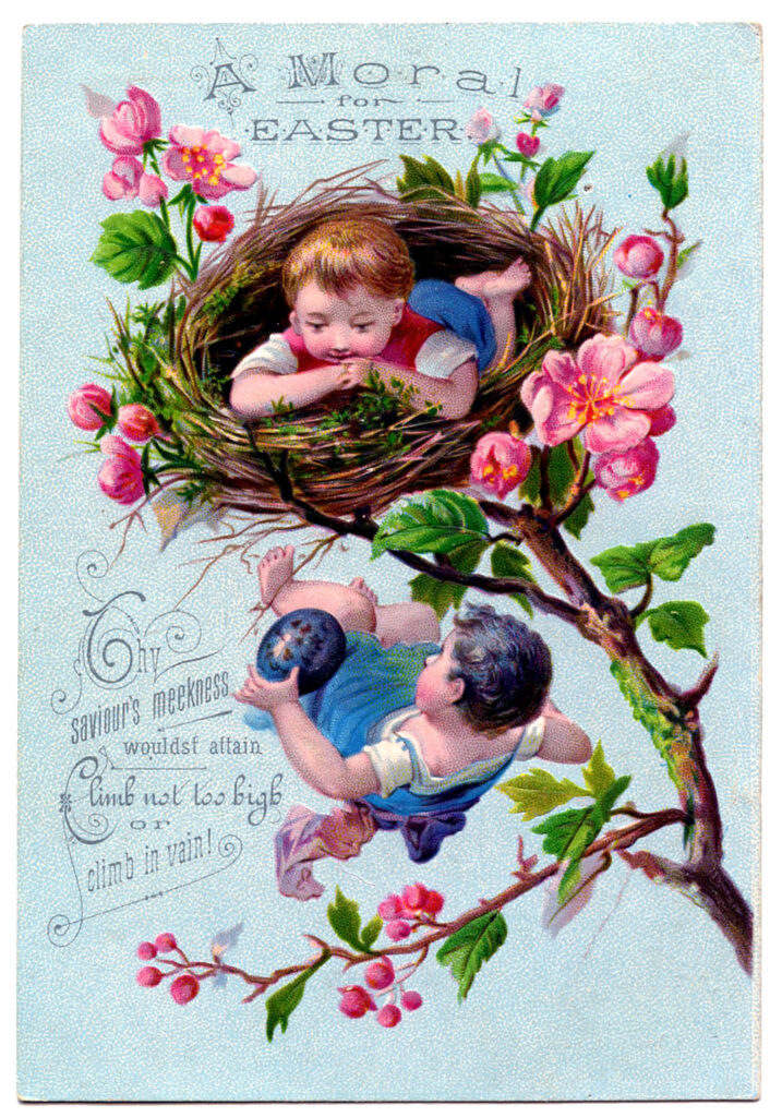 children vintage easter nest image