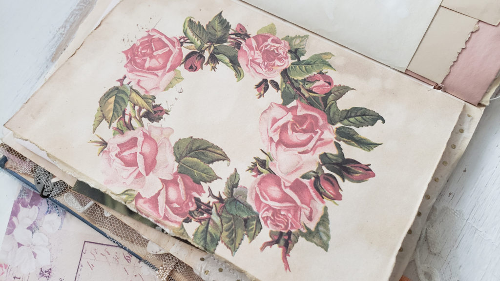 floral rose wreath journal page