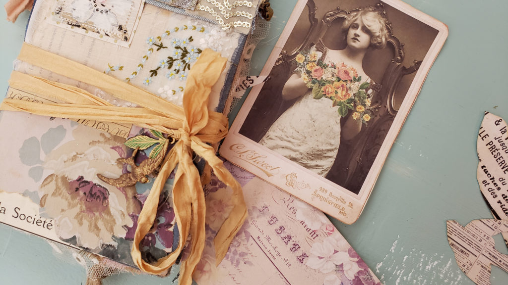 Faded Florals Junk Journal Cover Cabinet Card