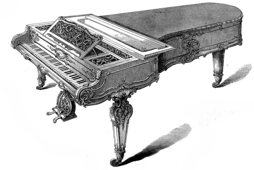 Victorian grand piano harpsichord image