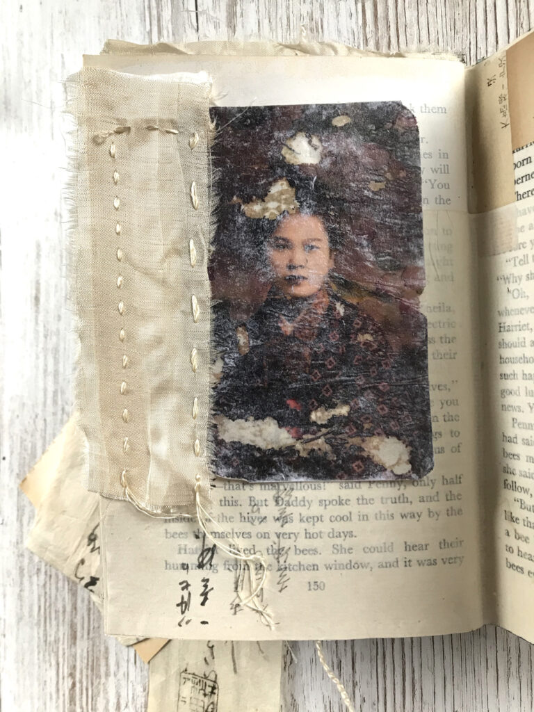 asian woman photograph journal page