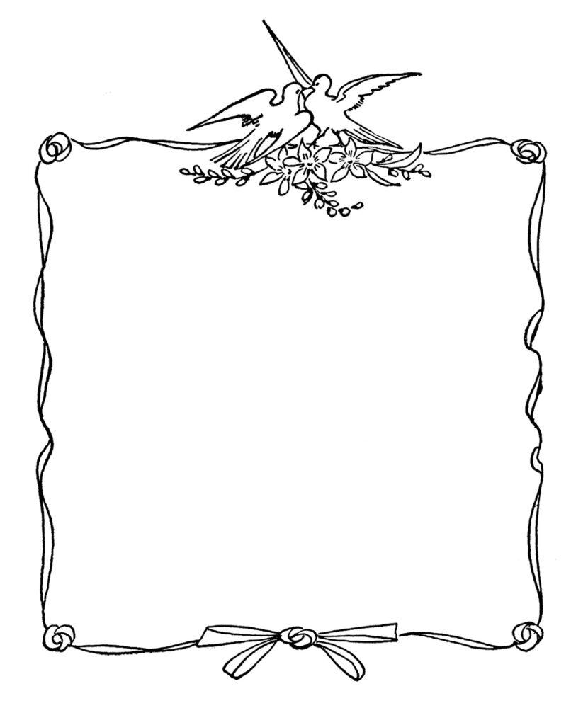 vintage lovebird frame blank label image