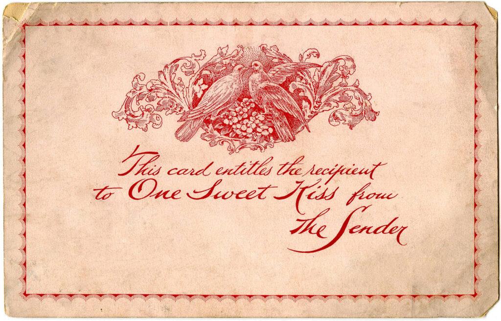 lovebirds doves valentine card vintage image