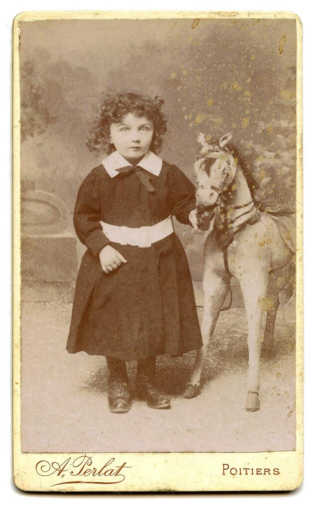 spooky child hobby horse clipart