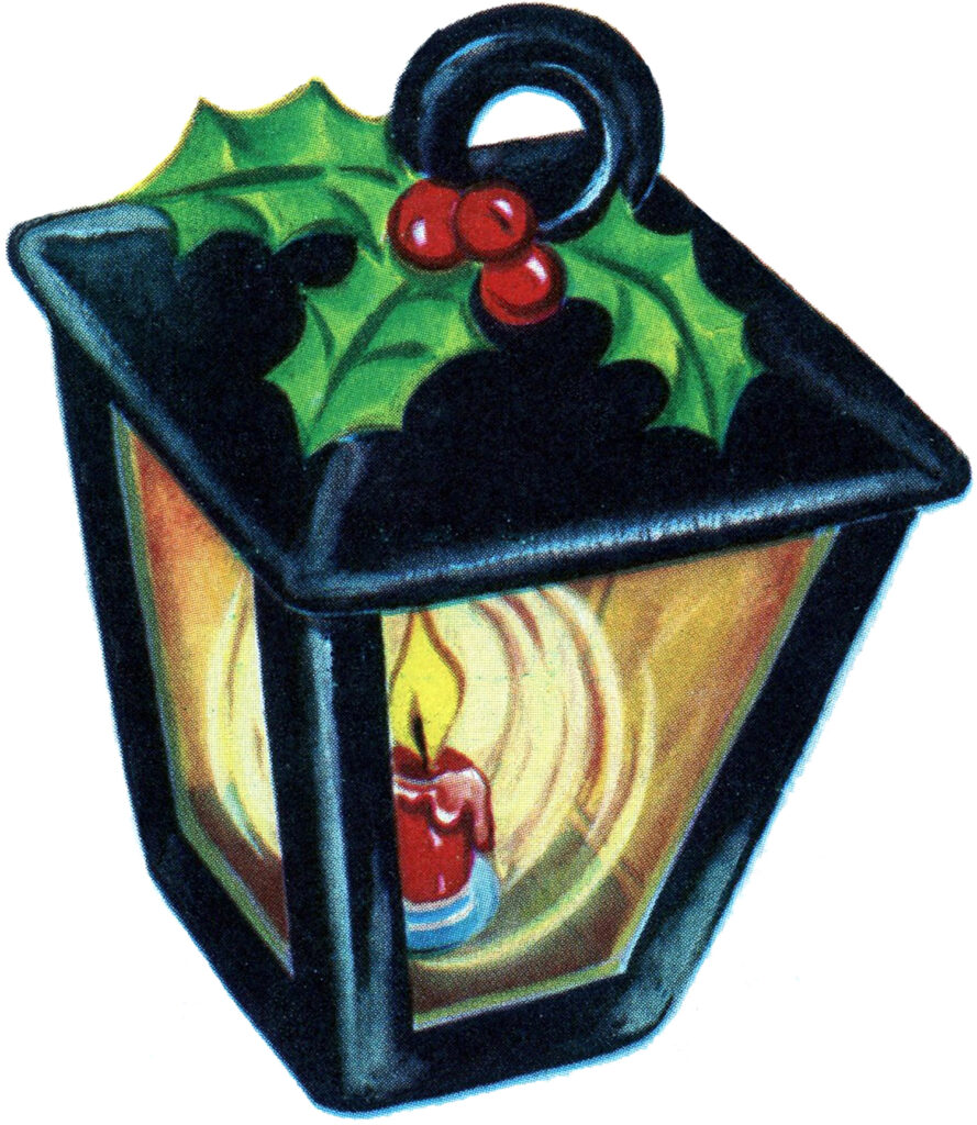 retro christmas lantern holly illustration