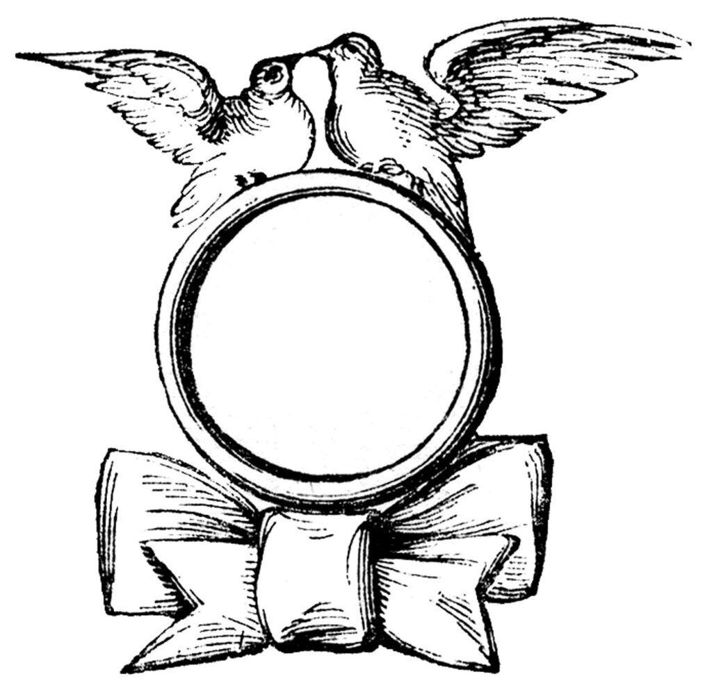 ring doves bow blank label clipart