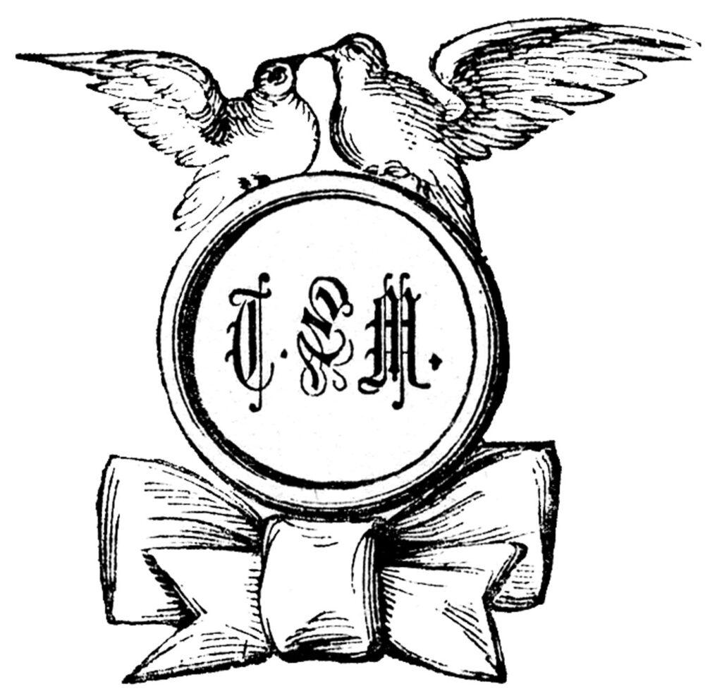 vintage dove rings monogram wedding engraving illustration