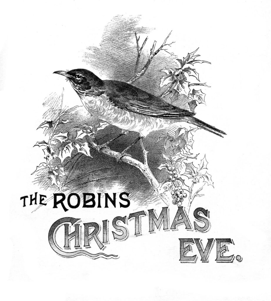 robins christmas eve black white typography image