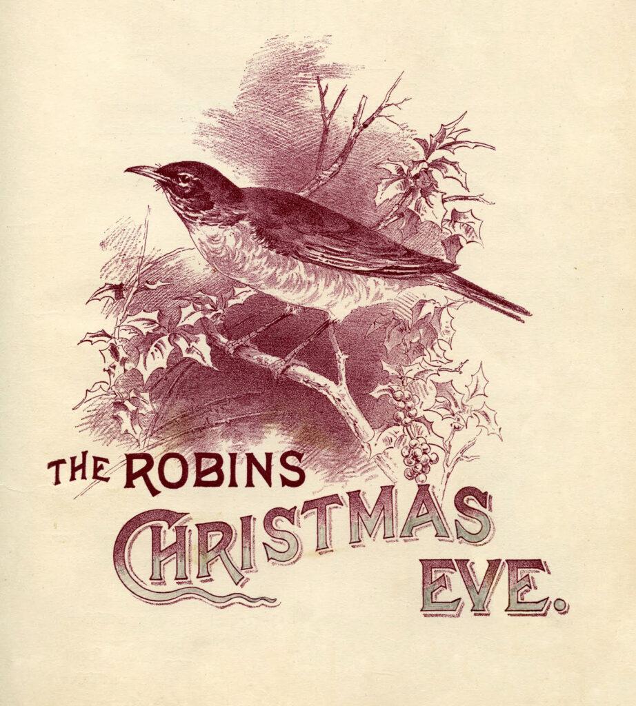 robins christmas eve sepia image