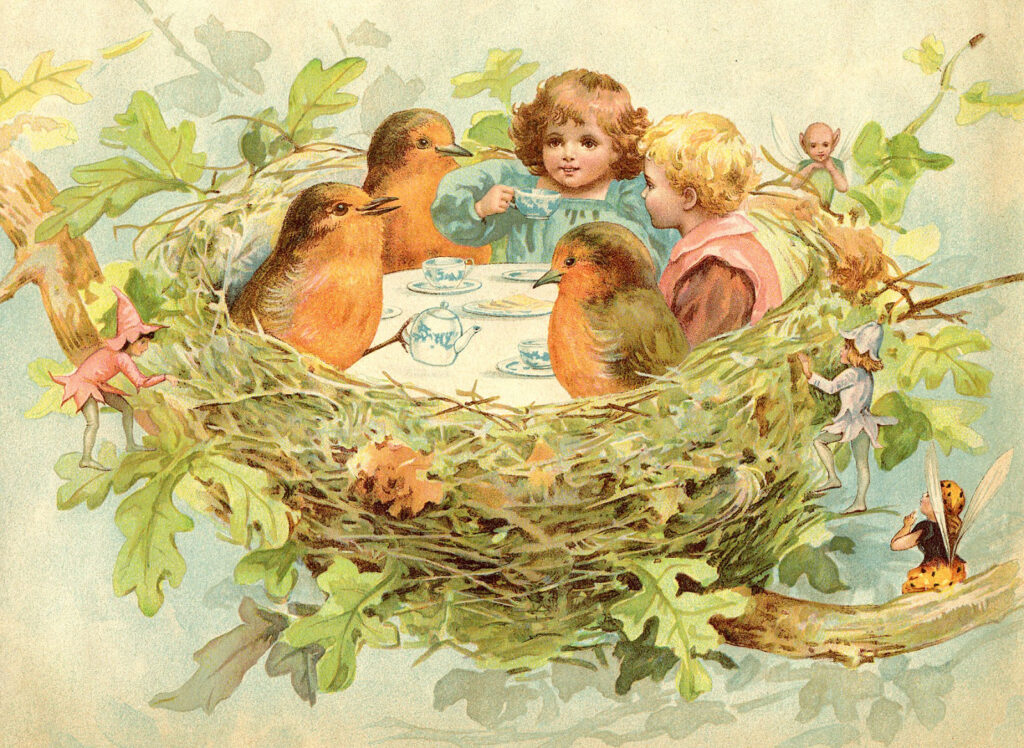 children in nest tea part birds clipart