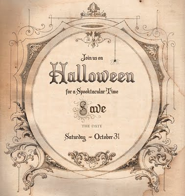 halloween invitation sepia image