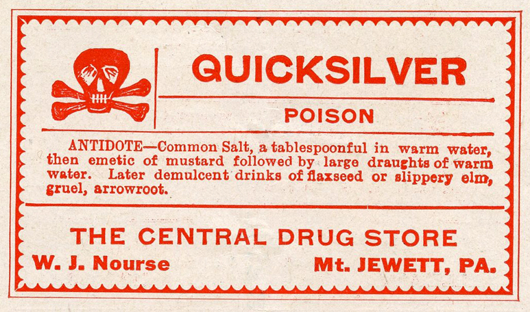 quicksilver vintage poison label clip art