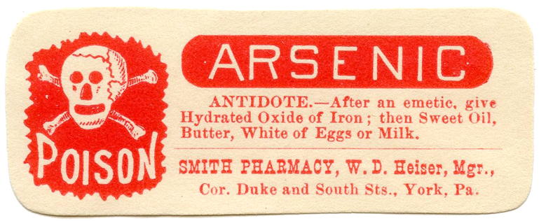 arsenic poison antique pharmacy label illustration
