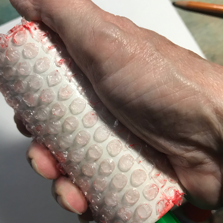 Press Gently on Bubble Wrap to Secure