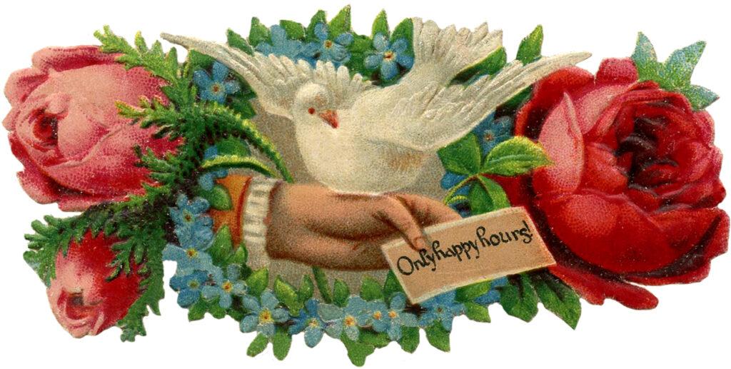 Victorian scrap hand dove note roses clipart