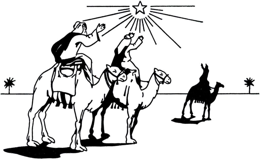 Wise men camel north star illustration