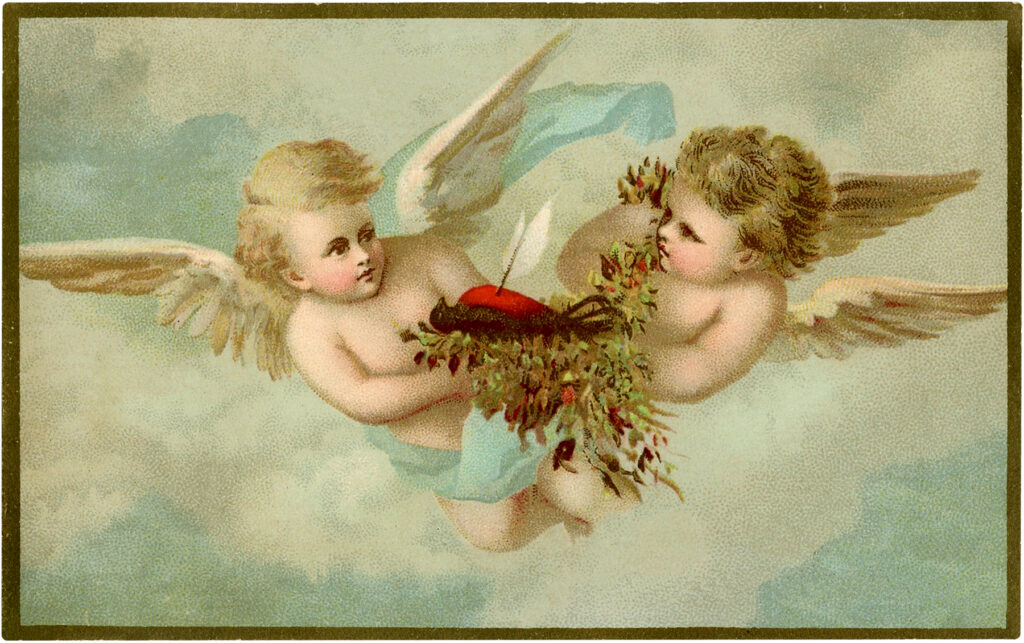 vintage cherubs robin nest illustration
