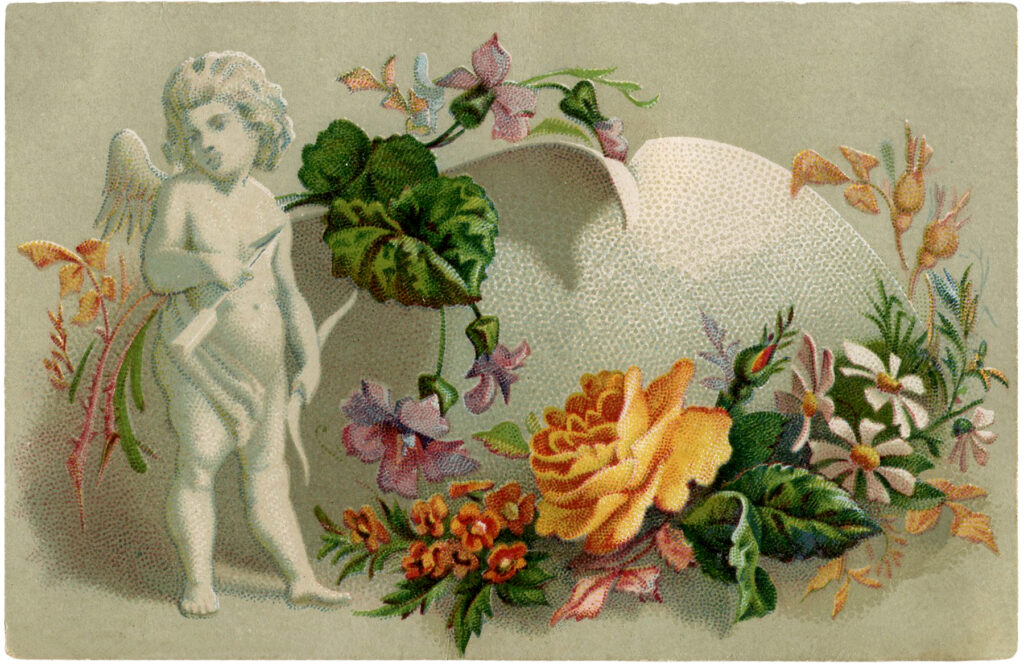 vintage cupid statue flowers illustration