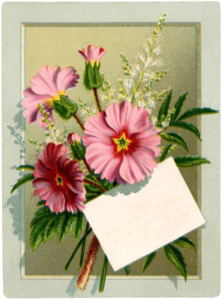 vintage floral bouquet tag label illustration
