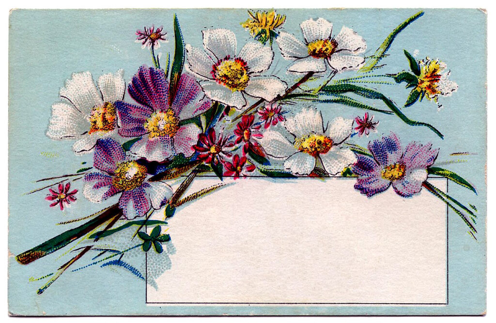 vintage blue calling card purple flowers image